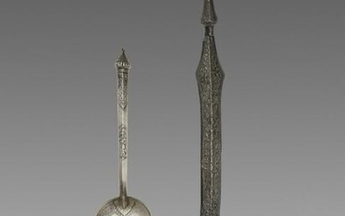 TWO LARGE CAMBODIAN SILVER SPOONS