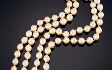 TWO STRANDS OF CULTURED PEARLS NECKLACE WITH 18K YELLOW GOLD CLASP Price: 175,00 Euros. (29.118 Ptas.)