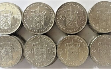 The Netherlands - 2½ Gulden 1929/1939 Wilhelmina (40 stuks) - Silver