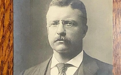 Theodore Roosevelt Signed Silver Print Photograph Portrait.
