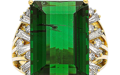 Tourmaline, Diamond, Gold Ring The ring features an emerald-cut...