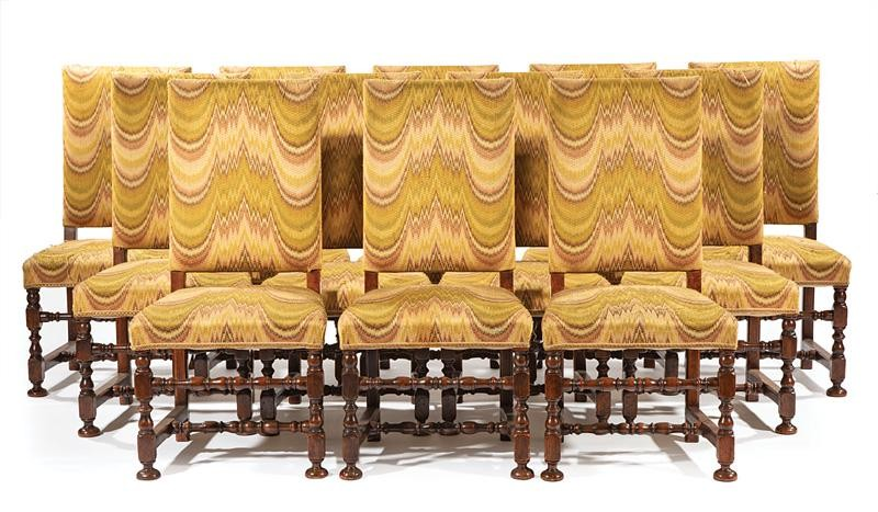 Twelve Continental Walnut Side Chairs