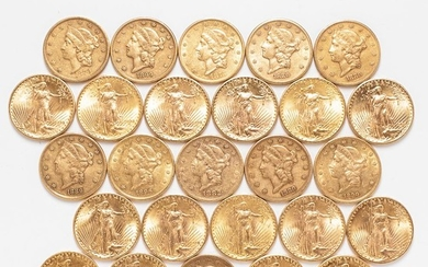 Twenty-five $20 Liberty Head and St. Gaudens Double Eagle Gold Coins