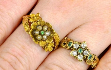 Two 19th century 18ct gold floral cluster gem-set