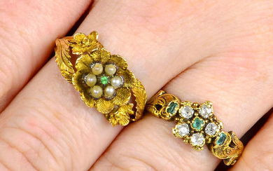 Two 19th century 18ct gold floral cluster rings, one with diamonds and emeralds, the other with split pearls and demantoid garnet.