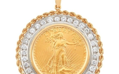 Two-Color Gold, Gold Coin and Diamond Pendant