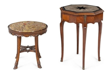 Two Neoclassical Marble-Top Side Tables