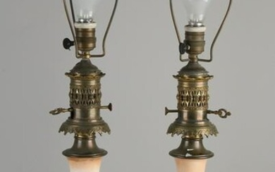 Two antique porcelain table lamps.&#160 Electrified