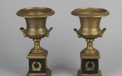 Two large bronze Empire-style crater vases. 20th