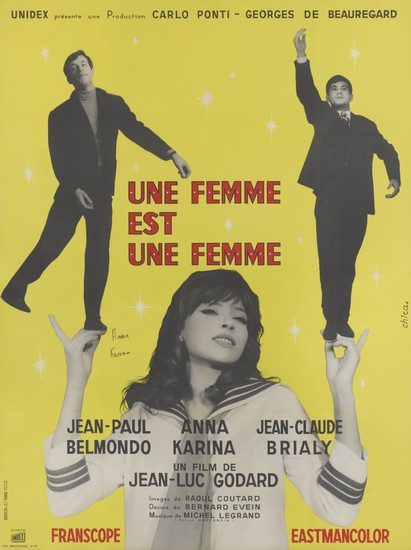 UNE FEMME EST UNE FEMME / A WOMAN IS A WOMAN (1961) POSTER, FRENCH, SIGNED BY ANNA KARINA