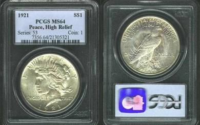 USA 1921 $1 Peace Dollar PCGS MS64 High Relief