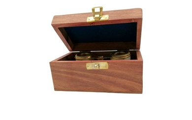 Vintage opera glasses in wooden box