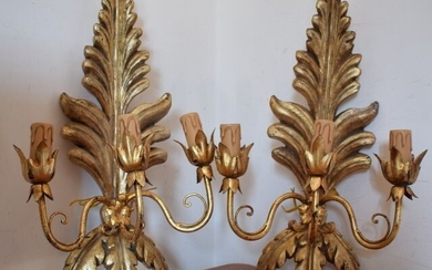 Wall lamp, large pair in wood and brass and gilt