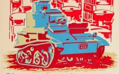 War Poster Buses Give Way To Tanks WWII