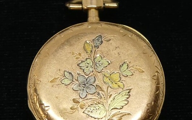 YELLOW GOLD NECK WATCH, guilloché with flower decoration, gold counter bowl . Gross weight 17,6 g