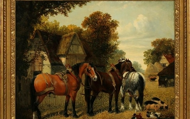 WILLIAM GEORGE MEADOWS OIL ON CANVAS, FARM SCENE