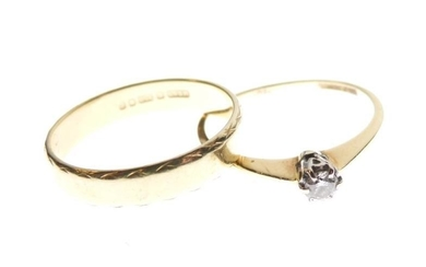 18ct gold and solitaire diamond ring, size L, together...