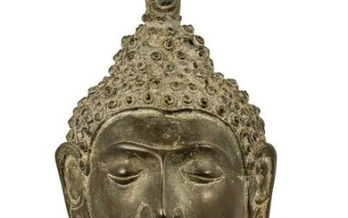 18th Century Chiang Saen Mounted Bronze Buddha Head