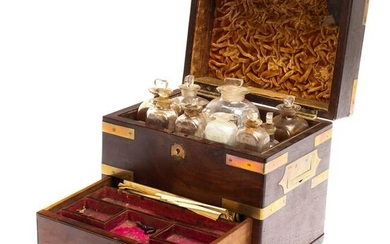 19C Medical Doctor's Apothecary Box Campaign Chest