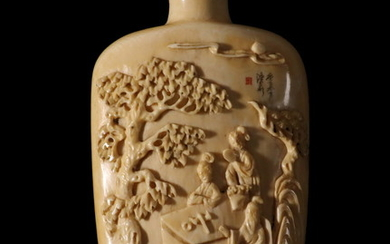 19TH C. LARGE CHINESE IVORY SNUFF BOTTLE