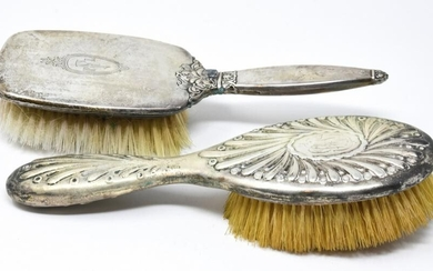 2 Antique Sterling Silver Hair Brushes