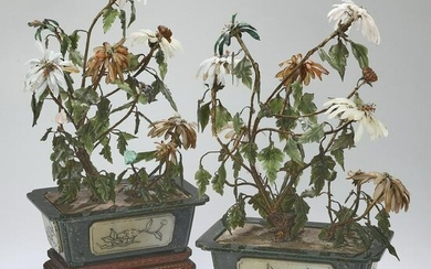 (2) Chinese carved jade floral trees