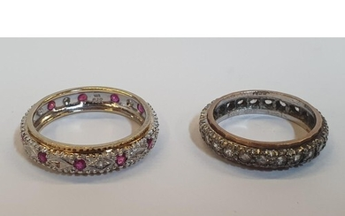 2 x 9ct Eternity rings, one yellow gold Ruby and Diamond rin...