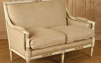 CARVED PAINTED FRENCH LOUIS XVI STYLE SETTEE 1940