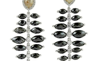 24.9 Carat Diamond 18 Karat Gold Onyx Earrings