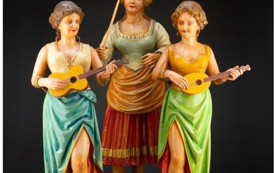 27014: Three Continental Carved and Painted Wood Carous