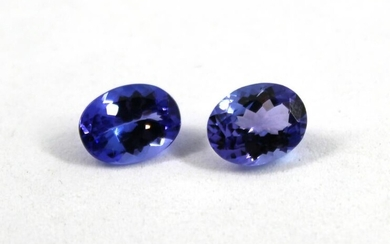 3.50 cttw. Oval-Cut Tanzanite Stones, Pair