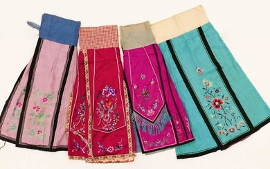 4pc Chinese Silk Embroidered Skirts 38''x50'' Each