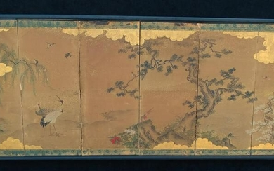 6 PANEL JAPANESE SCREEN LANDSCAPE WITH TREES & BIRDS