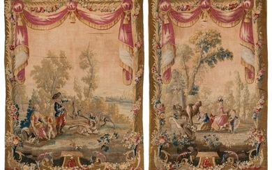 61014: A Near Pair of Aubusson Tapestries with Pastoral