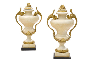 A Pair of French Gilt Bronze Mounted White Marble Urns