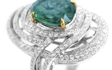 7.06 tcw Emerald Natural Diamond Ring in 18K White Gold