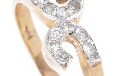 A 14CT GOLD DIAMOND RING; double C motif set with 12 round brilliant cut diamonds, some chipped, size R, wt. 3.23g.