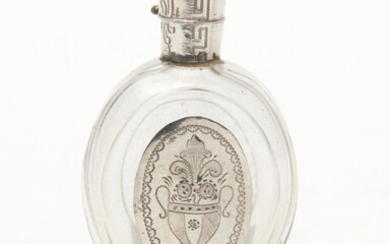 A 19TH CENTURY FRENCH SILVER AND CRYSTAL OVAL SHAPED PERFUME BOTTLE 9CM