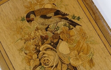 A 19th century Sorrento Ware marquetry inlaid desktop filing...
