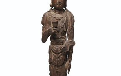 A CARVED WOOD STANDING FIGURE OF A BODHISATTVA, CHINA, YUAN-MING DYNASTY (1279-1644)