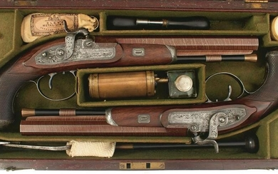 A CASED PAIR OF 32-BORE PERCUSSION DUELLING OR TARGET