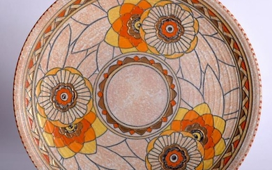 A CHARLOTTE RHEAD POTTERY CHARGER, decorated with bold