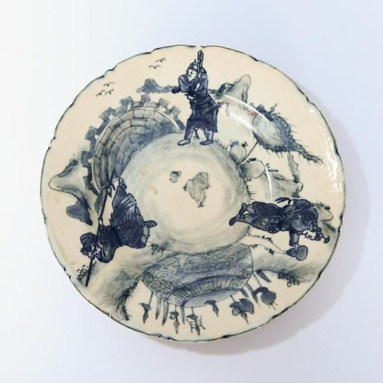 A Chinese Blue and White Figure Painted Porcelain Dish