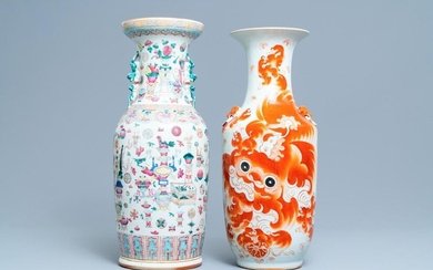 A Chinese famille rose 'antiquities' vase and an iron red Buddhist lion vase, 19/20th C.