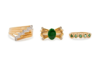 A Collection of 14 Karat Yellow Gold Rings,
