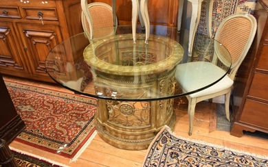 A DECORATIVE CIRCULAR TABLE BASE WITH GLASS TOP 140W x 75cm H (PLEASE NOTE THIS ITEM MUST BE REMOVED BY CLIENTS OR CARRIERS AT THE C...
