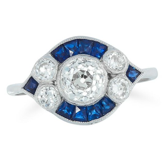 A DIAMOND AND SAPPHIRE RING set with round old cut