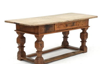 A Danish Baroque oakwood refectory table. First half of the 18th century. H. 78 cm....