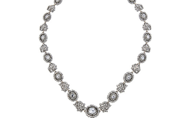 A Diamond, Silver and Gold Convertible Pendant Necklace