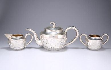 A FINE CHINESE EXPORT SILVER THREE-PIECE TEA SERVICE